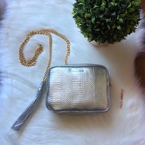 NWT. Victoria's Secret Metallic crossbody bag
